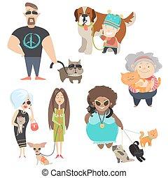 cute, proprietários, animais estimação, seu