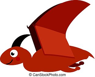Cute pterodactyl dinosaur. Cartoon dino character. Vector illustration for kids