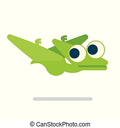 Cute Pterosaur flying. Dinosaur life. Vector illustration of prehistoric character in flat cartoon style isolated on white background. Funny green Pterodactylus with big eyes. Element for design.