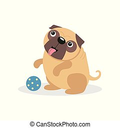 Cute pug dog character playing with a ball, pet dog cartoon vector Illustration