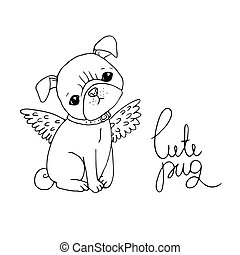 Cute Pug. Dog.