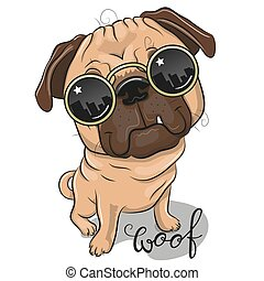 Cool Cartoon Pug Dog with sun glasses