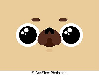 Cute pug face. nice dog. Pet vector illustration