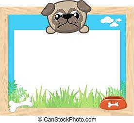 cute pug frame