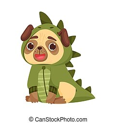 Cute pug in a dinosaur costume. Vector illustration on white background.