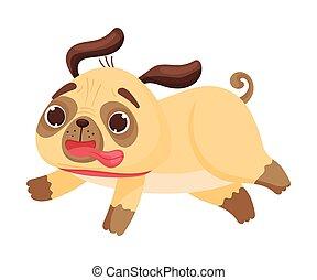 Cute pug runs fast. Vector illustration on white background.