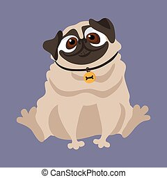 Cute Pug. Vector illustration of a dog. - Cute Pug. Vector...