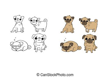 Cute Pugs. Dogs. Hand drawing isolated objects on white background.