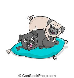 Cute pugs. Vector hand drawn cartoon illustration.
