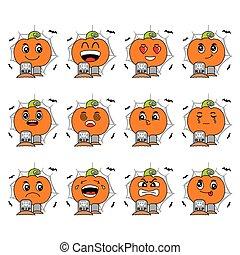 cute pumpkin halloween cartoon vector icon set