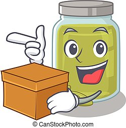 Cute pumpkin seed butter cartoon character having a box