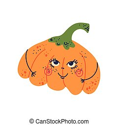 Cute Pumpkin with Funny Face, Adorable Vegetable Cartoon Character Vector Illustration