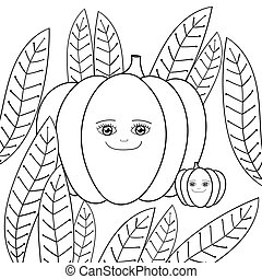 Cute pumpkins adult coloring book page. Mother Pumpkin and baby Pumpkin in whimsical garden. Vector illustration.