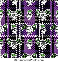 Cute punk chick and chicken on plaid background vector ...