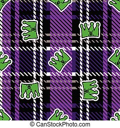 Cute punk crown on plaid background vector pattern. Grungy ...
