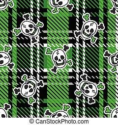 Cute punk skull on plaid background vector pattern. Grungy ...
