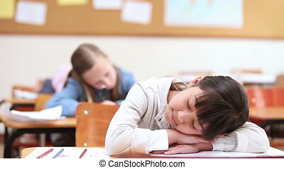 Cute pupil napping in the classroom