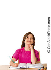 Cute pupil working at her desk on white background