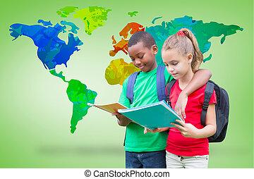 Cute pupils reading