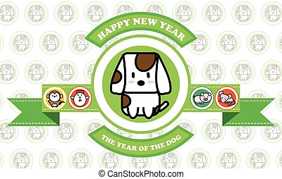 Cute puppet dog cartoon icon for chinese zodiac calendar vector illustrator