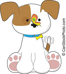 Cute Puppy and Butterfly - A cute puppy with a butterfly on ...