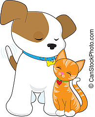 Cute Puppy and Cat - A cute puppy with tail wagging, fondly...