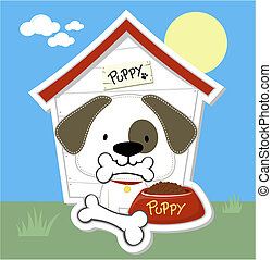cute puppy and dog house cartoon - cute puppy eating and dog...