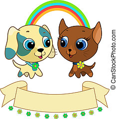 Cute puppy and kitten friendship vector illustration