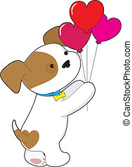 Cute Puppy Balloons - A cute mixed breed puppy is holding a...