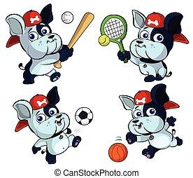 cute puppy bulldog sports set