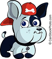cute puppy bulldog with cap