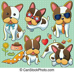 cartoon illustration of stylish cute puppy