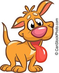 Cute puppy cartoon vector illustration. Yellow dog. Isolated on white background. For web design and apps