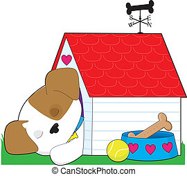 Cute Puppy Dog House - A cute puppy is sleeping in its dog...