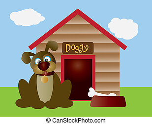 Cute Puppy Dog with Dog House - Cute Puppy Dog with Dog Bone...