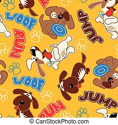 Cute puppy dogs in a seamless pattern