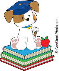 Cute Puppy Graduate - A cute puppy wearing a graduate cap,...
