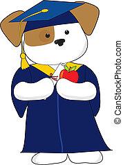 Cute Puppy Graduation - A cute puppy is dessin in a cap and...