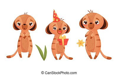 Cute Puppy Holding Gift Box and Standing with Surprised Look Vector Set