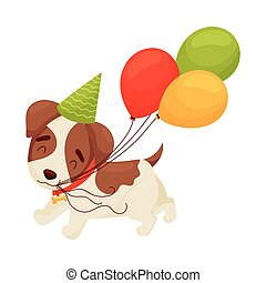 Cute puppy holding his teeth balloons. Vector illustration on white background.