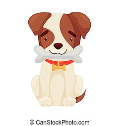 Cute puppy holds a bone in his teeth. Vector illustration on white background.