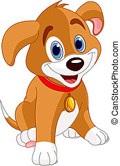 Cute Puppy - Vector illustration of a cute puppy, wearing a...