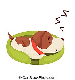 Cute puppy is sleeping. Vector illustration on white background.