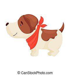 Cute puppy is standing. Vector illustration on white background.