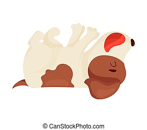 Cute puppy lying on his back. Vector illustration on white background.