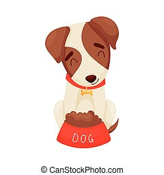 Cute puppy next to a bowl. Vector illustration on white background.