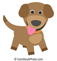 Cute puppy on a white background. Vector illustration.