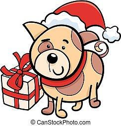 cute puppy on Christmas cartoon