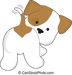 Cute Puppy Rear View - A cute brown and white puppy with a ...
