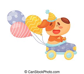 Cute puppy rides in a car. Vector illustration on a white background.
